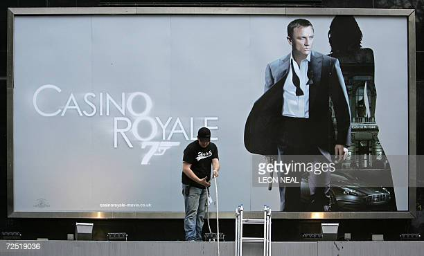 The Odeon cinema in Leicester Square in central London is prepared for the Royal Premiere of the new James Bond film 'Casino Royale' 13 November 2006...