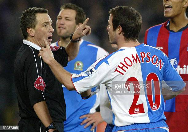This file photo shows Blackburn's David Thompson arguing with Referee Mr A Wiley after he was given a red card and sent off during their Premiership...