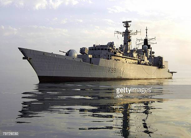 This picture issued by the Britain's Ministry of Defence 28 March 2007 shows HMS Cornwall British military frigate on station in the Gulf British...