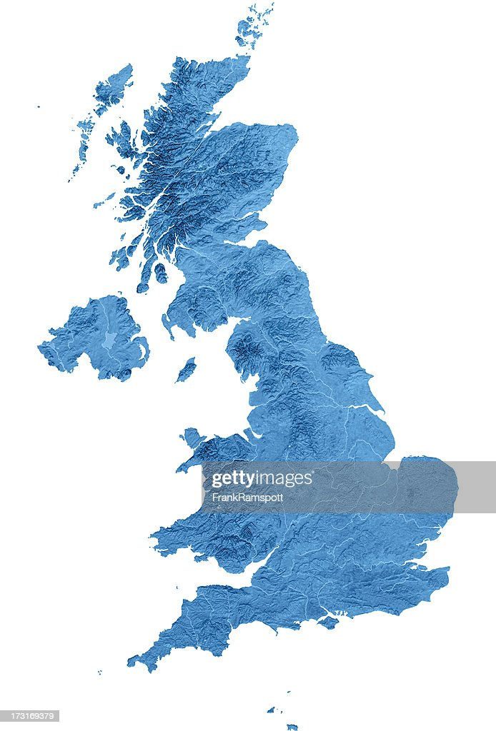 United Kingdom Topographic Map Isolated : Stock Photo
