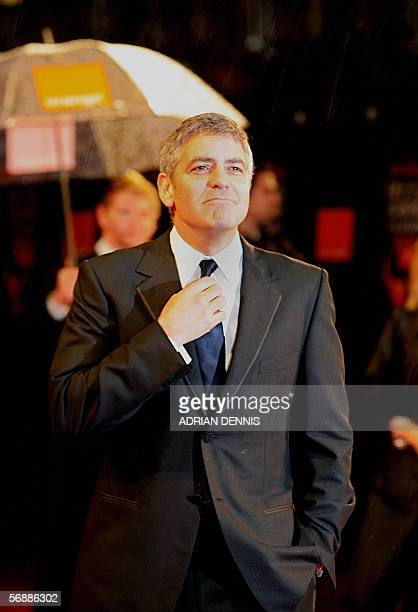 US actor George Clooney arrives for the annual British Academy of Film and Television Arts awards ceremony at the Odeon Leicester Square in London 19...