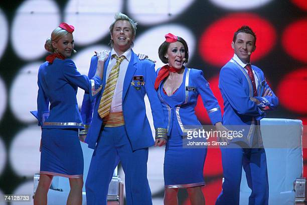 United Kingdom's entry to the Eurovision Song Contest 2007 Scooch performs the song 'Flying The Flag ' during the second dress rehearsal for the...