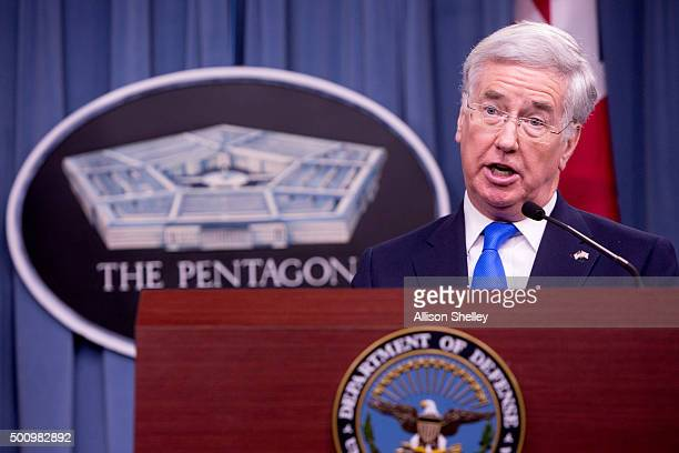 United Kingdom's Secretary of State for Defense Michael Fallon speaks during a joint press conference with Secretary of Defense Ash Carter at the...