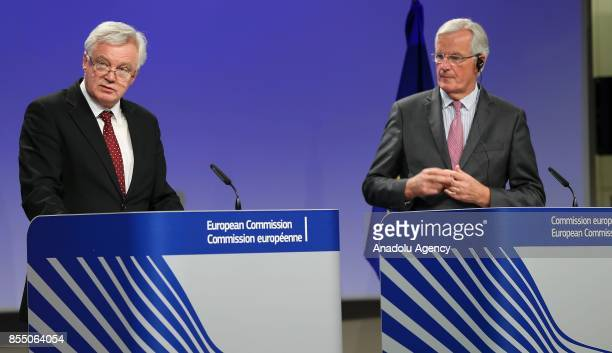 United Kingdom's Secretary of State for Exiting the European Union David Davis and Chief negotiator for the European Union Michel Barnier hold a...
