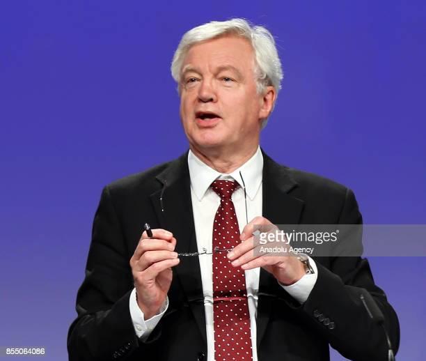 United Kingdom's Secretary of State for Exiting the European Union David Davis and Michel Barnier Chief negotiator for the European Union hold a...