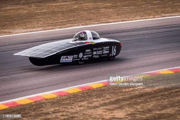 United Kingdom's Stanford Solar Car Project drive their solar car Black Mamba during Dynamic Scrutineering at Hidden Valley Motorsport Complex ahead...