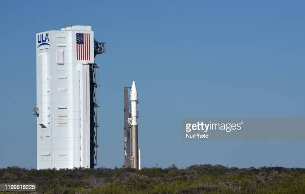 A United Launch Alliance Atlas V 411 rocket with the Solar Orbiter payload rolls out from the vertical integration facility to pad 41 at Cape...