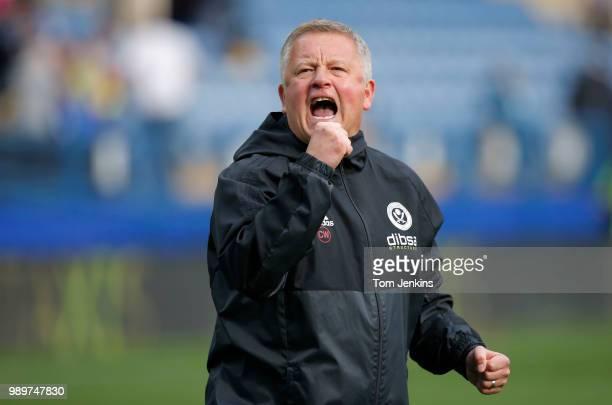 United manager Chris Wilder celebrates after the Sheffield Wednesday v Sheffield United EFL Championship match at the Hillsborough Stadium on...