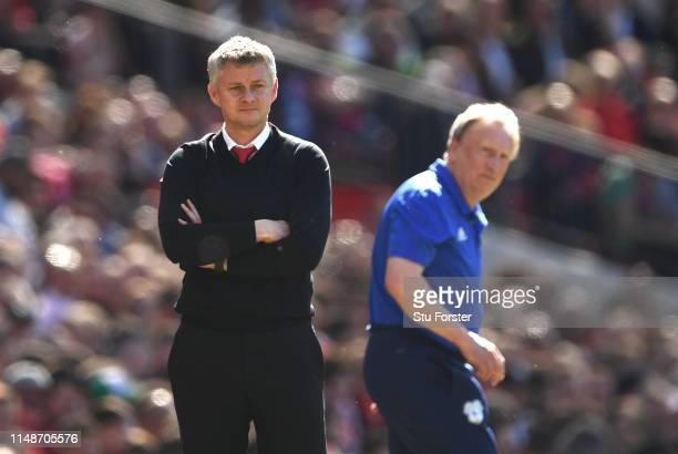 United manager Ole Gunnar Solskjaer reacts on the touchline as Cardiff manager Neil Warnock looks on during the Premier League match between...