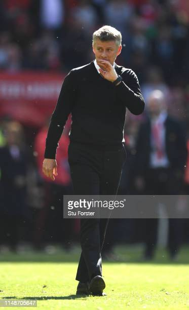 United manager Ole Gunnar Solskjaer reacts towards the crowd after the Premier League match between Manchester United and Cardiff City at Old...