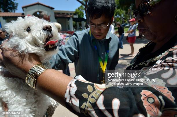 BEACH CALIF USA United Methodist clergy Rev Nestor Gerente Rev Mary Walton bless animals including Lauri Raykoff's dog Baily during a fundraiser for...
