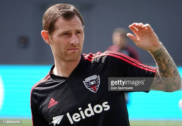 C United midfielder Chris McCann warms up before a MLS match between DC United and Los Angeles FC on April 6 at Audi Field in Washington DC