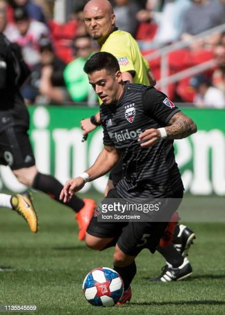 C United midfielder Junior Moreno dribbles forward during a MLS match between DC United and Los Angeles FC on April 6 at Audi Field in Washington DC