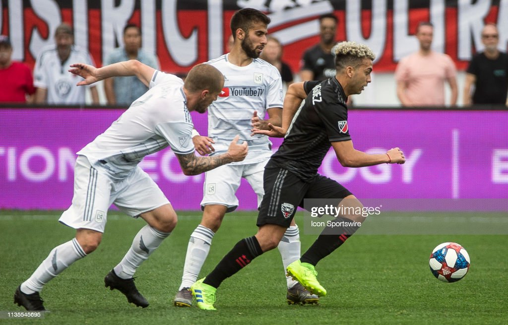 D C  United midfielder Lucas Rodriguez moves away from Los