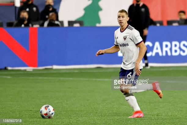 United midfielder Russell Canouse pushes the ball upfield during a match between the New England Revolution and DC United on April 24 at Gillette...