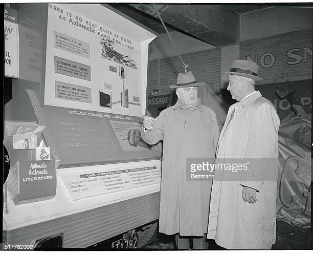 United Mine Workers President John L Lewis is shown with Lothair Teetor Assistant Secretary of Commerce as they inspected the anthracite Industry's...