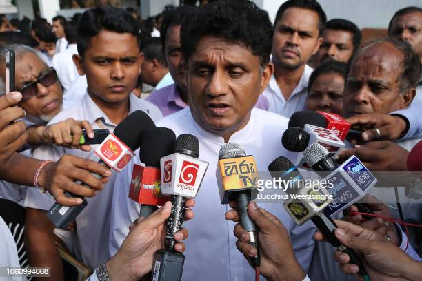 United National Party deputy leader Sajith Premadasa speaks media on November 132018 in Colombo Sri Lanka Security is tight around President...