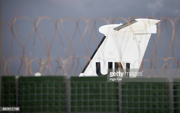 United Nations aircraft behind a fence of the protected Mogadishu Airport on May 01 2017 in Mogadischu Somalia