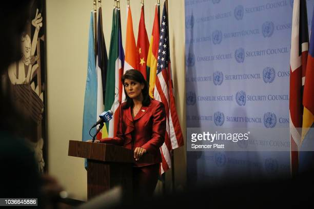 United Nations Ambassador Nikki Haley speaks to the media ahead of the start of next weeks General Assembly meeting at the United Nations on...