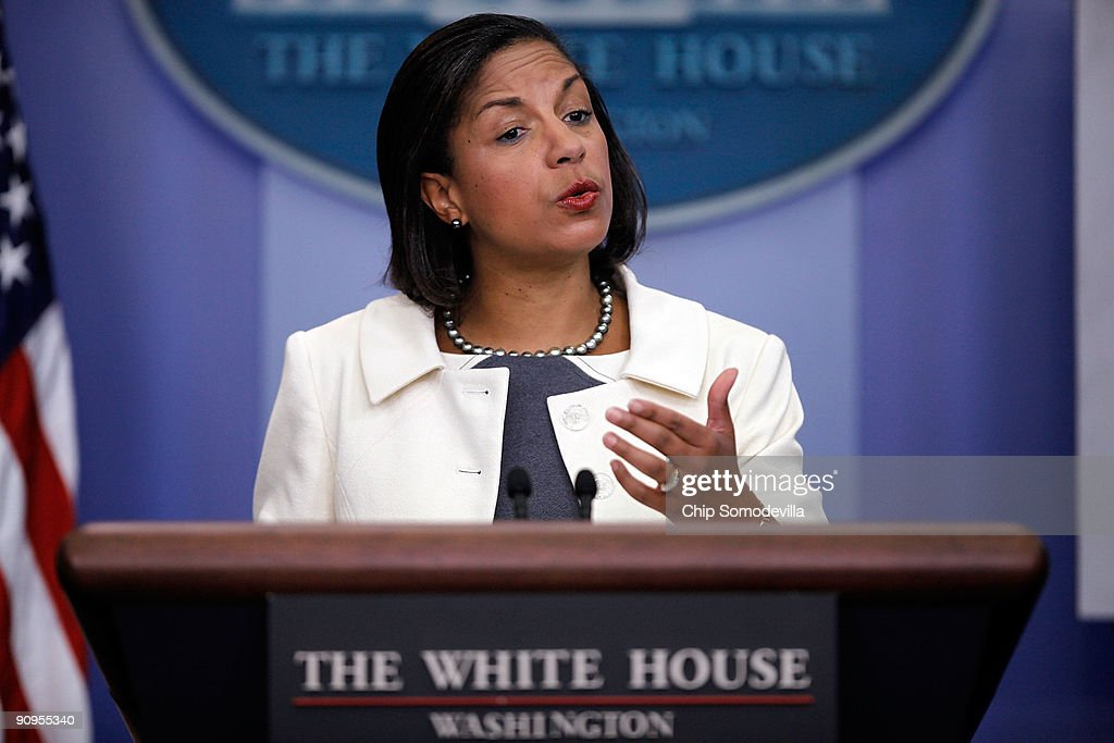 UN Ambassador Susan Rice Briefs The Press On The UN General Assembly : Nachrichtenfoto