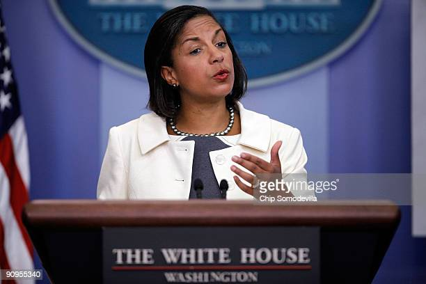 United Nations Ambassador Susan Rice answers reporters' quesitons during a press breifing at the White House September 18, 2009 in Washington, DC....
