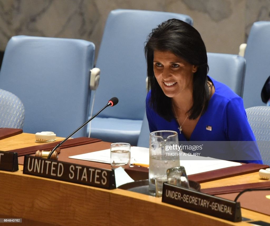 United Nations Ambassador to the US Nikki Haley speaks as the United Nations Security Council meets in an emergency session at the UN on April 5, 2017 about the suspected deadly chemical attack that killed civilians, including children, in Syria. /