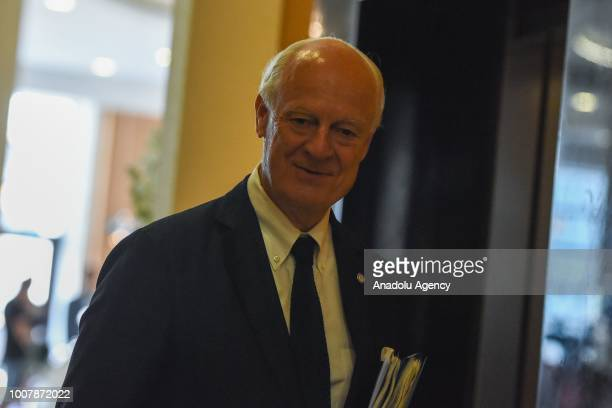 United Nations and Arab League Envoy to Syria Staffan de Mistura attends the 10th highlevel Astanaformat international meeting on Syria at the...