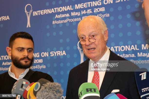 United Nations and Arab League Envoy to Syria Staffan de Mistura speaks to press after the International Meeting on Syria following the 9th round of...