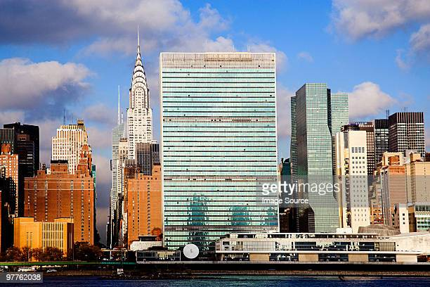 United nations building and skyscrapers new york