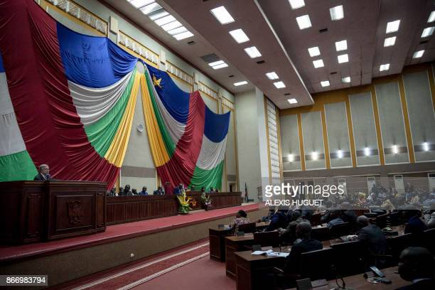 United Nations chief Antonio Guterres delivers a speech to the Central African National Assembly on October 27 2017 in Bangui as he ends his fourday...