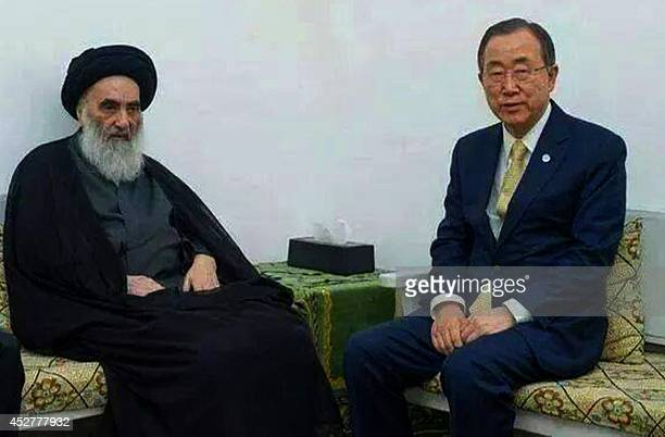 United Nations Chief Ban Ki-moon meets with Iraq's top Shiite cleric Grand Ayatollah Ali al-Sistani in the Iraqi central shrine city of Najaf, on...