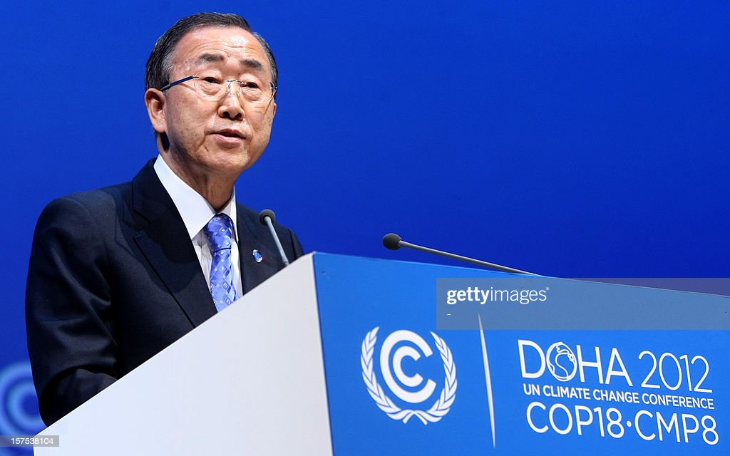 United Nations chief Ban Ki-moon talks during the opening ceremony of Plenary Session of the High-Level Summit of the United Nations Framework Convention on Climate Change (UNFCCC) in the Qatari capital Doha on December 4, 2012. Ki-moon said the world was faced by a global warming 'crisis' and urged bickering negotiators at climate talks in Doha to show 'strong political commitment' and compromise.