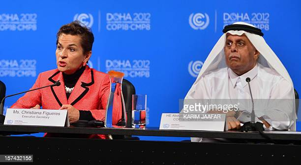 United Nations Convention on Climate Change Executive Secretary Christiana Figueres speaks during a press conference along side Qatar's Deputy Prime...