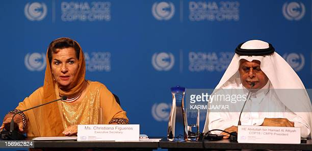 United Nations Convention on Climate Change Executive Secretary Christiana Figueres and Qatar's Deputy Prime Minister and president of the 18th...