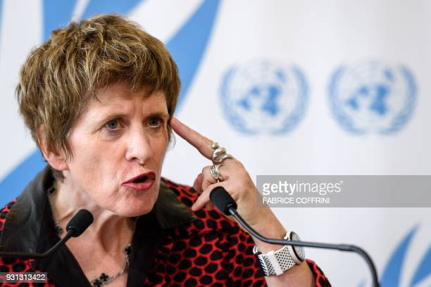 United Nations Deputy High Commissioner for Human Rights Kate Gilmore gestures while delivering a statement during the UN Human Rights Council...