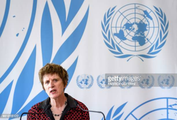 United Nations Deputy High Commissioner for Human Rights Kate Gilmore delivers a statement during the UN Human Rights Council session in Geneva on...