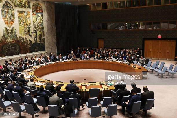 United Nations diplomats meet during a UN Security Council meeting on the situation in Syria at the United Nations on March 12 2018 in New York City...