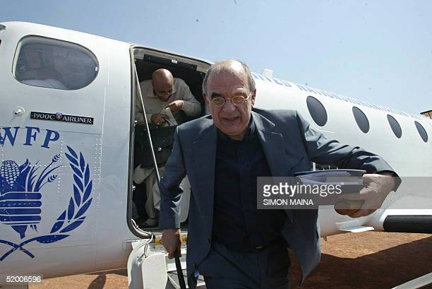 United Nations envoy for Sudan Jan Pronk arrives at Rumbek the provisional capital of south Sudan 18 January 2005 for talks with UN staff and the...