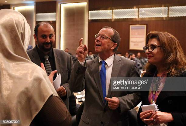 United Nations envoy to Libya Martin Kobler speaks with members of Libya's General National Congress at the National Conference Hall in the Libyan...