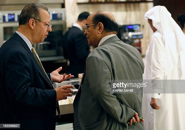United Nations envoy to Yemen Jamal bin Omar talks with Yemeni Southern Movement representative exPrime minister Haidar Abu Bakr alAttas before a...