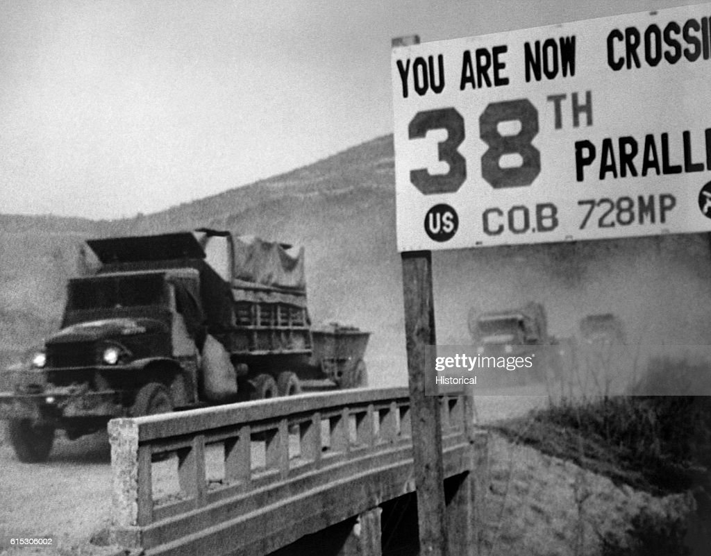 United Nations forces cross the 38th parallel while withdrawing from Pyongyang, the North Korean capital. They later recrossed the 38th parallel. 1950.