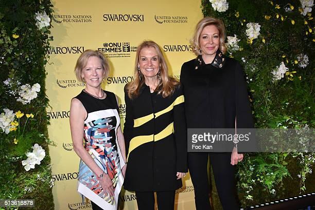 United Nations Foundation CEO Kathy Calvin US Ambassador in France Jane D Hartley and Swarovski CEO Nadja Swarovski attend the 'International Women's...