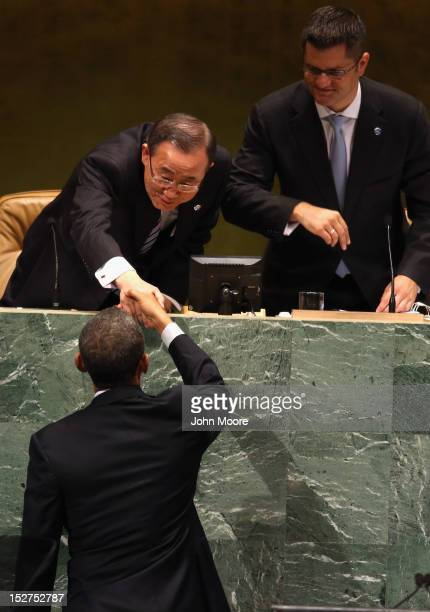 United Nations General Secretary Ban Ki-moon greets U.S. President Barack Obama before his address at the UN General Assembly on September 25, 2012...