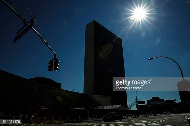New York United States of America February 27 United Nations Headquarter against the light on February 27 2016 in New York United States of America