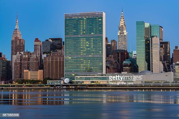 United Nations Headquarters across East River during Dawn