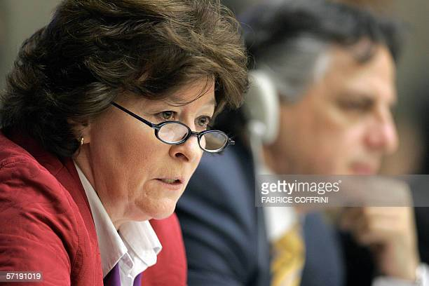 United Nations High Commissioner for Human Rights Louise Arbour of Canada gives a speech in front of the United Nations Human Rights Commission...