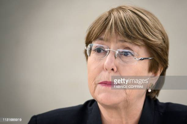 United Nations High Commissioner for Human Rights Michelle Bachelet delivers a speech on Venezuela and Yemen during the 40th session of UN Human...