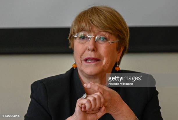 United Nations High Commissioner for Human Rights, Michelle Bachelet, delivers opening remarks while hosting a debate on key human rights issues in...