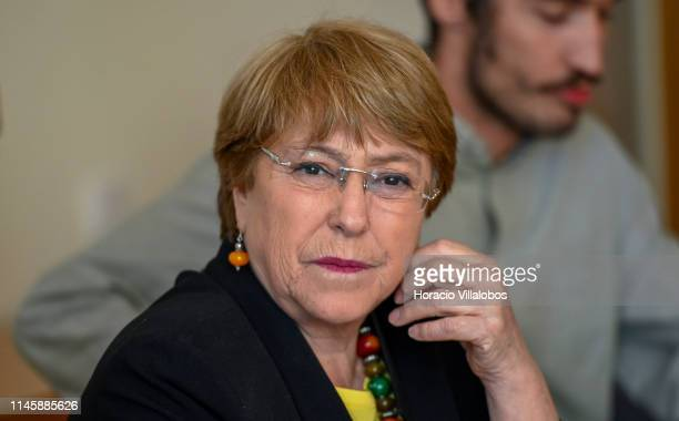 United Nations High Commissioner for Human Rights Michelle Bachelet listens to the meeting introduction before delivering opening remarks while...
