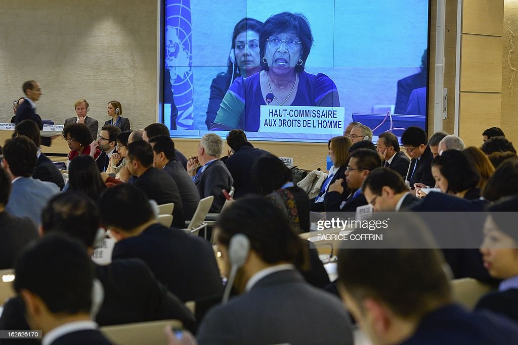 United Nations High Commissioner for Human Rights Navi Pillay is viewed on a giant screen at the opening of the 22nd session of the UN Human Rights Council on February 25, 2013 in Geneva. The Council kicks off with widespread abuses in North Korea and Mali the top items on the agenda, along with the crisis in Syria.